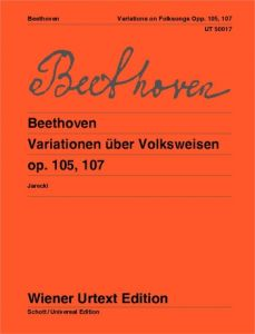 BEETHOVEN, LUDWIG VAN - Wariacje na temat pieśni ludowych op.105 i op.107 na fortepian i flet - Variations on Folk Song - for Piano and Flute ad libitum - nuty na fortepian i flet ad libitum - Wiener Urtext - UT50017
