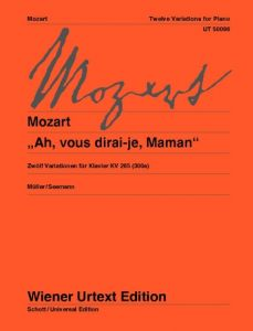 "MOZART, WOLFGANG AMADEUS - Dwie wariacje na temat  ""Ah, vous dirai-je, Maman"" KV 300e (265) - Two Variations - for Piano - nuty na fortepian - Wiener Urtext - UT50096"