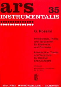 ROSSINI, GIOACCHINO - Introduction, Theme and Variations - for Clarinet and Piano - nuty na klarnet i fortepian - ed. Jost Michaels - Sikorski Musikverlage - SIK551K