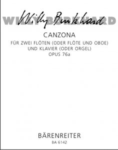 BURKHARD, WILLY - Canzona op.76a - for two Flutes (Flute and Oboe) and Piano (Organ) - nuty na dwa flety (flet i obój) i fortepian (organy) - partytura i głosy - Bärenreiter Verlag - BA6142